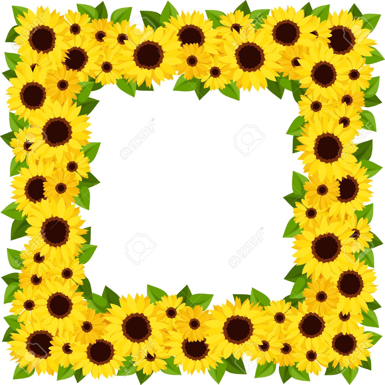 Sunflowers Frame Vector Illustration Royalty Free Cliparts, Vectors ...