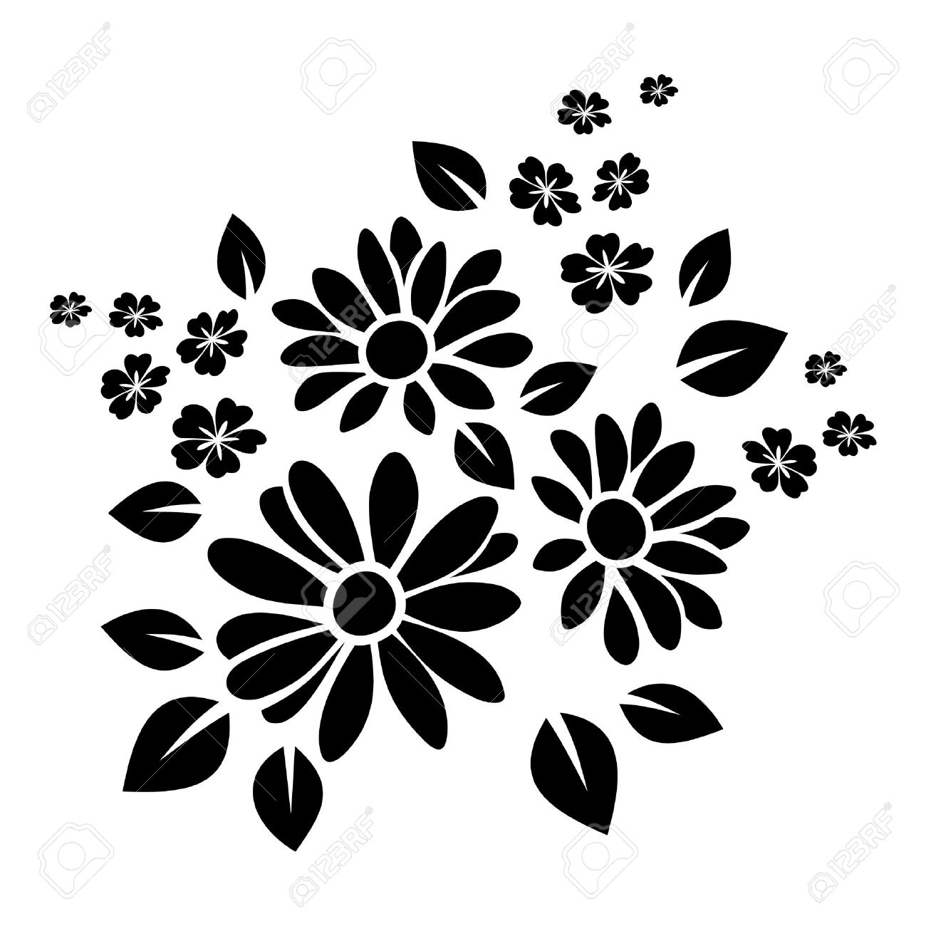 Black silhouette of flowers Vector illustration