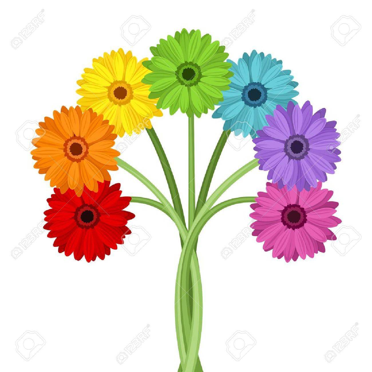 Bouquet of colorful gerbera flowers Vector illustration - 21074868