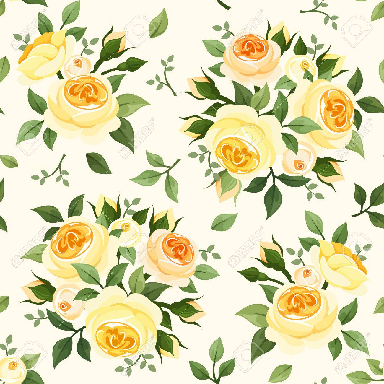 Seamless Pattern With Yellow Roses Vector Illustration Royalty Free