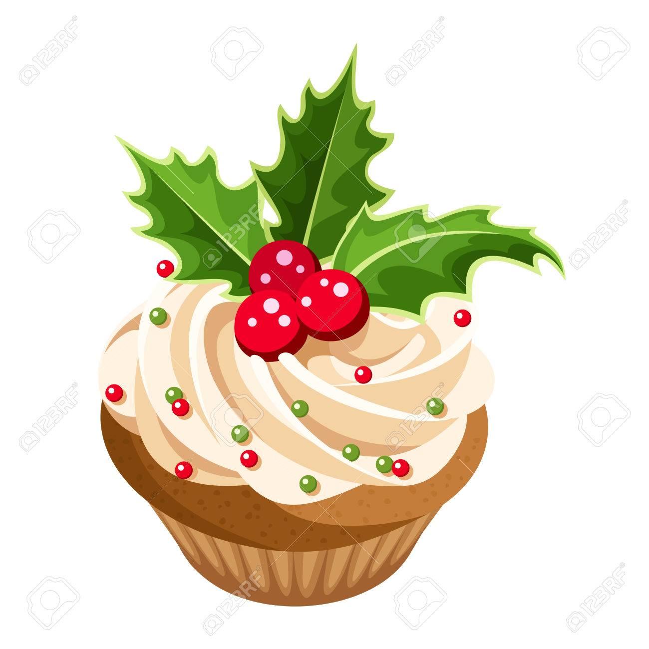 Christmas Cupcake Vector Illustration Royalty Free Cliparts ...