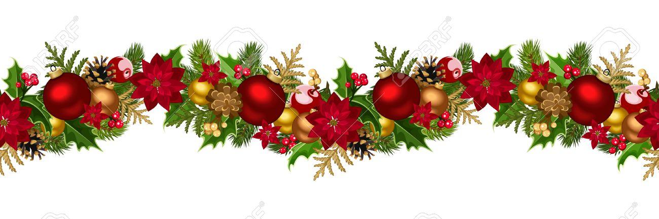 Christmas horizontal seamless background Vector illustration - 24190010