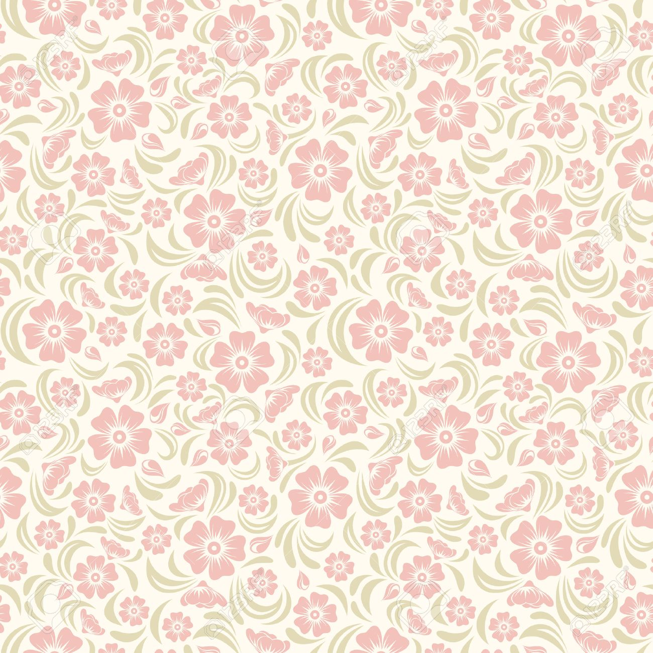 Seamless Vintage Floral Pattern Vector Illustration Royalty Free