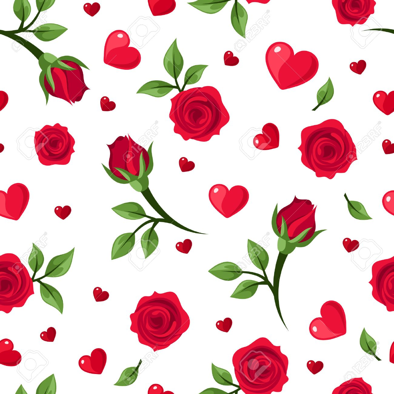 Vector seamless pattern with red roses and hearts on white - 24510318