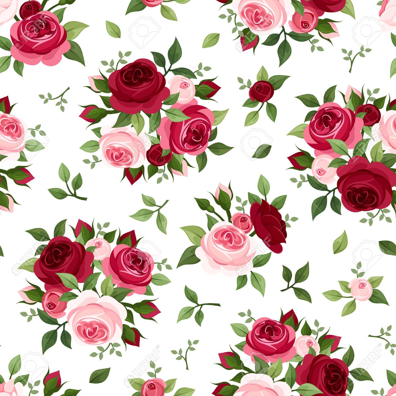 Seamless pattern with red and pink roses  Vector illustration Stock Vector - 25327584
