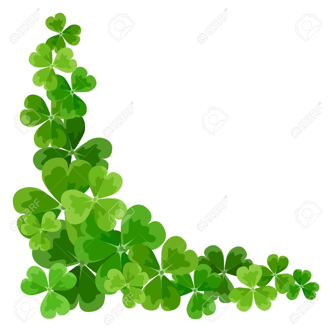 st patrick s corner border with shamrock vector illustration