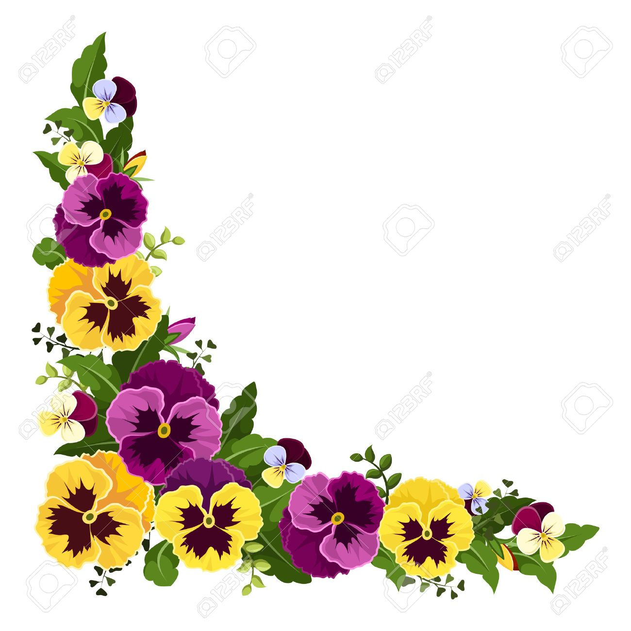 Corner background with pansy flowers - 28461431