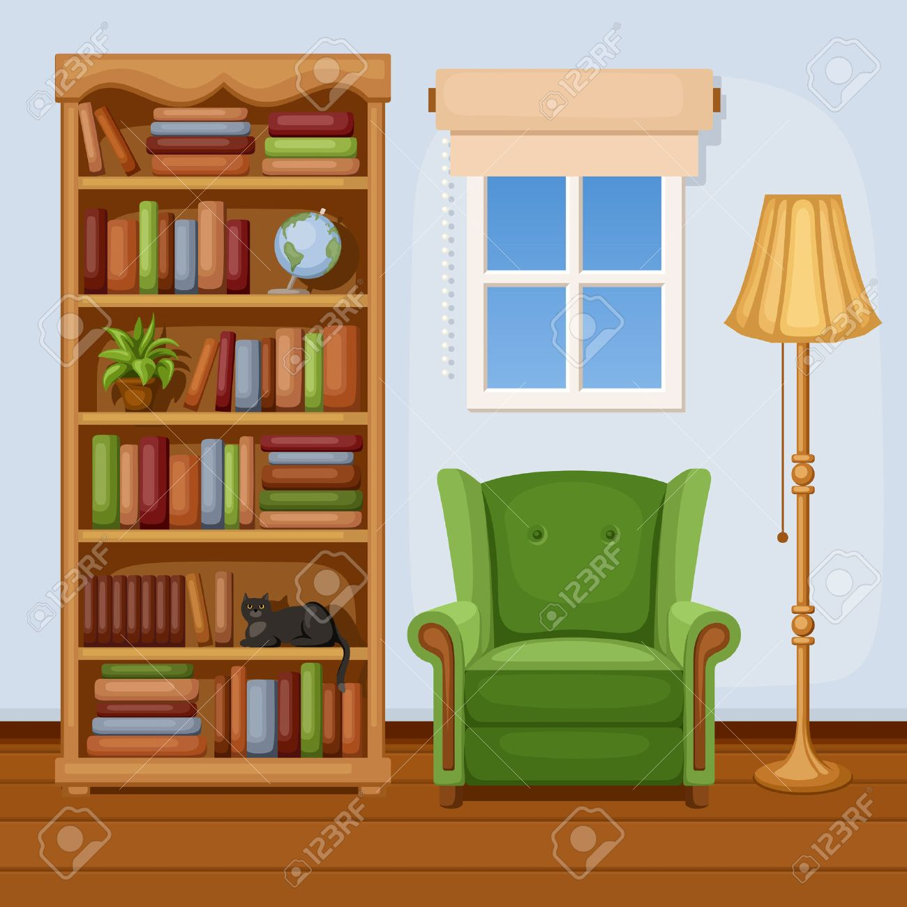 Interior wooden shelves free vector - Bookcase Room Interior With Bookcase And Armchair Vector Illustration