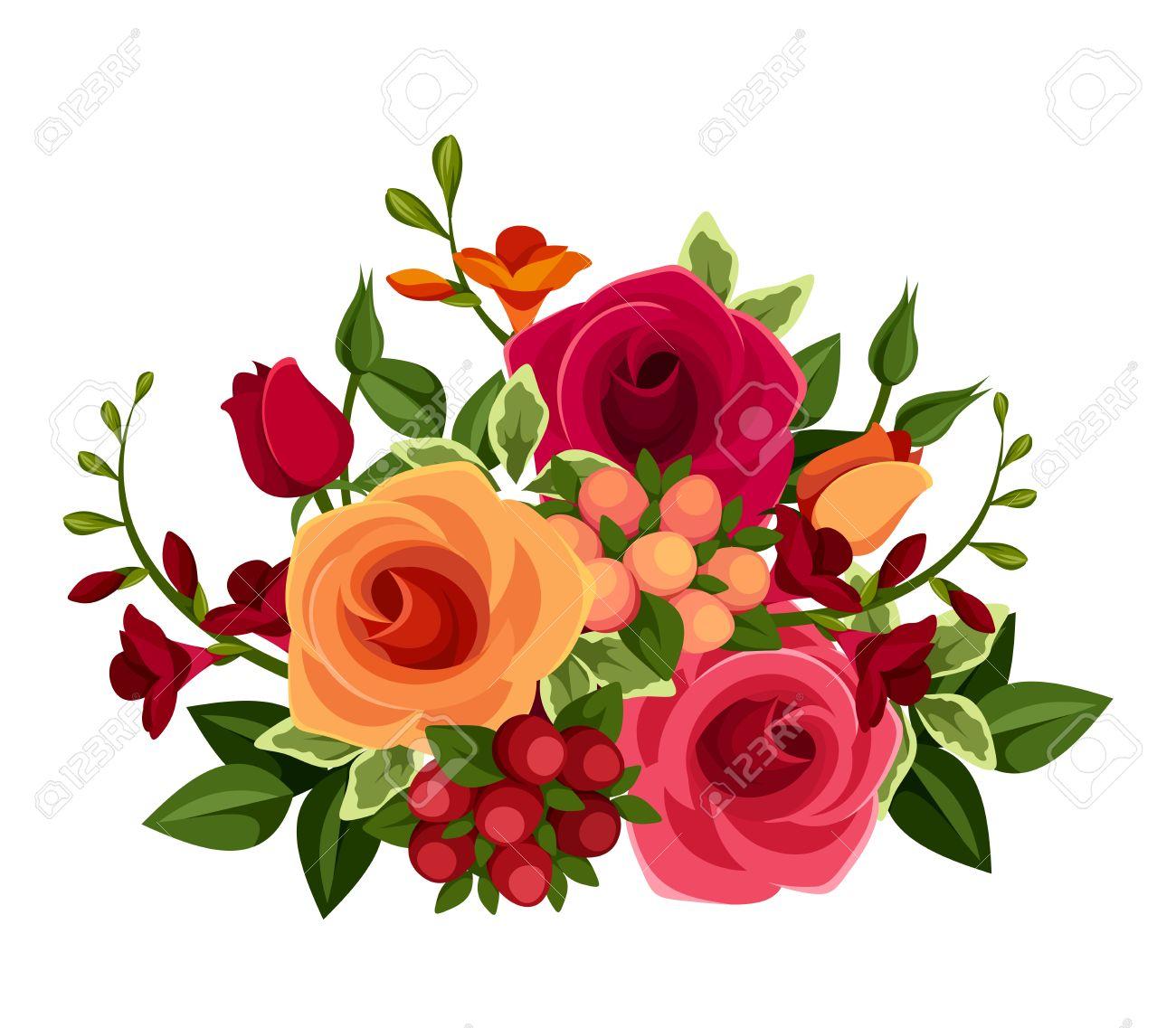 Banque dimages , Bouquet de roses et de fleurs de freesia Vector illustration