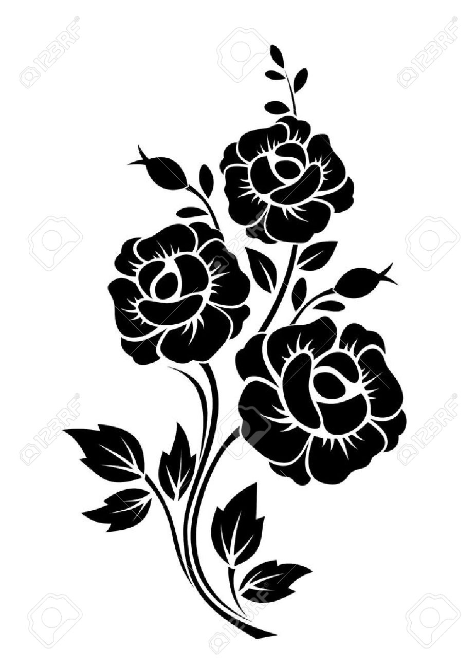 branch with flowers vector black silhouette royalty free cliparts rh 123rf com vector flower bouquet vector flower wreath