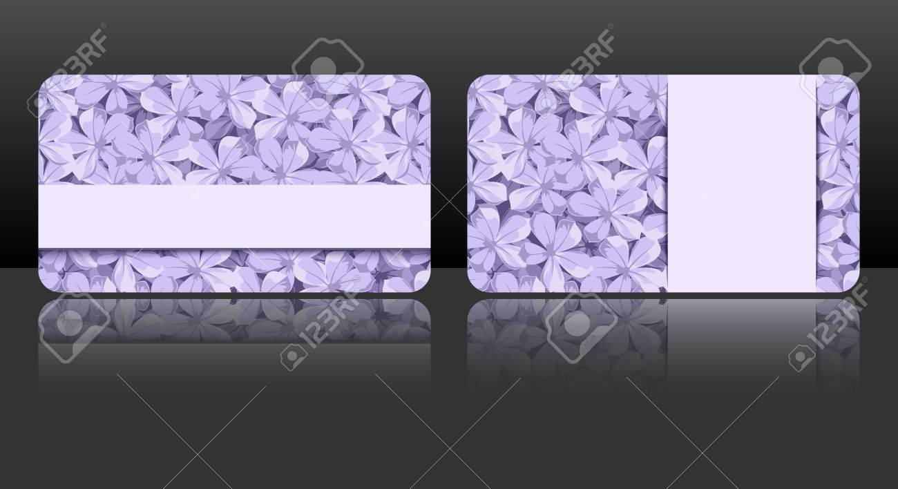 Purple Business Cards With Floral Patterns Royalty Free Cliparts ...