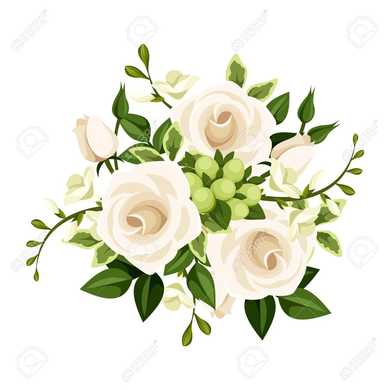 バラの花束白とフリージアの花イラストのイラスト素材ベクタ Image