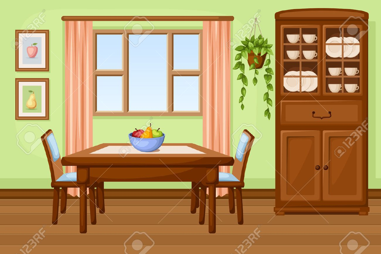 Dining Room Interior With Table And Cupboard Vector Illustration Stock