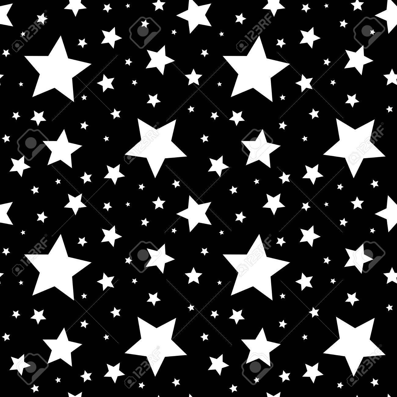 Seamless Avec Des étoiles Blanches Sur Fond Noir