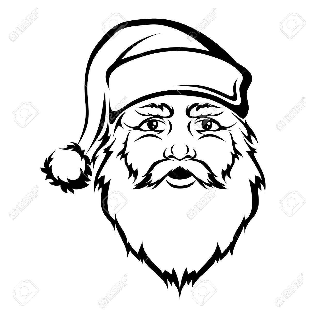 Santa Claus Head Vector Black Contour Christmas Illustration