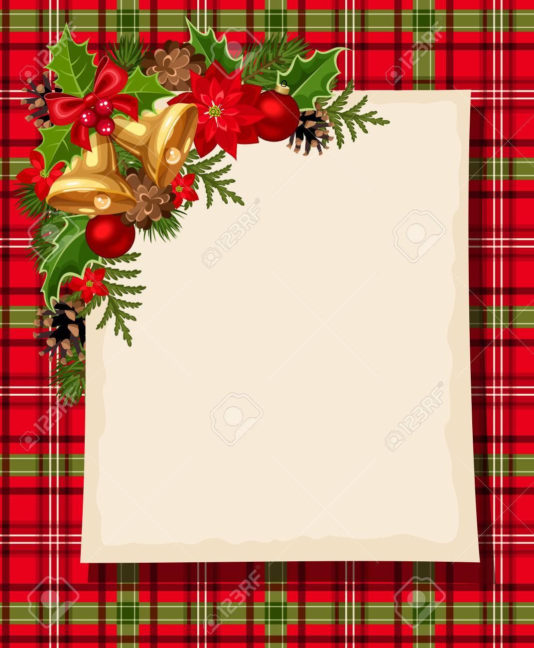 Tarjeta De Navidad Con Campanas, El Acebo, Conos, Pelotas, Flor De ...