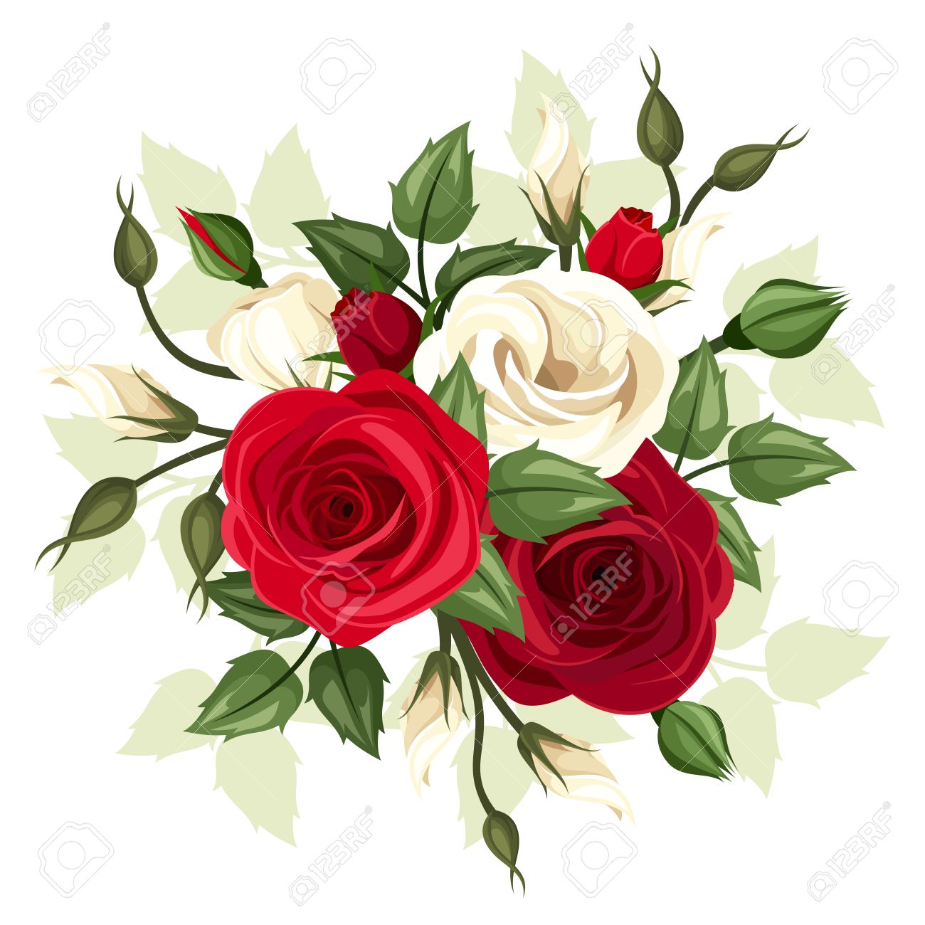 Red And White Roses And Lisianthus Flowers Vector Illustration