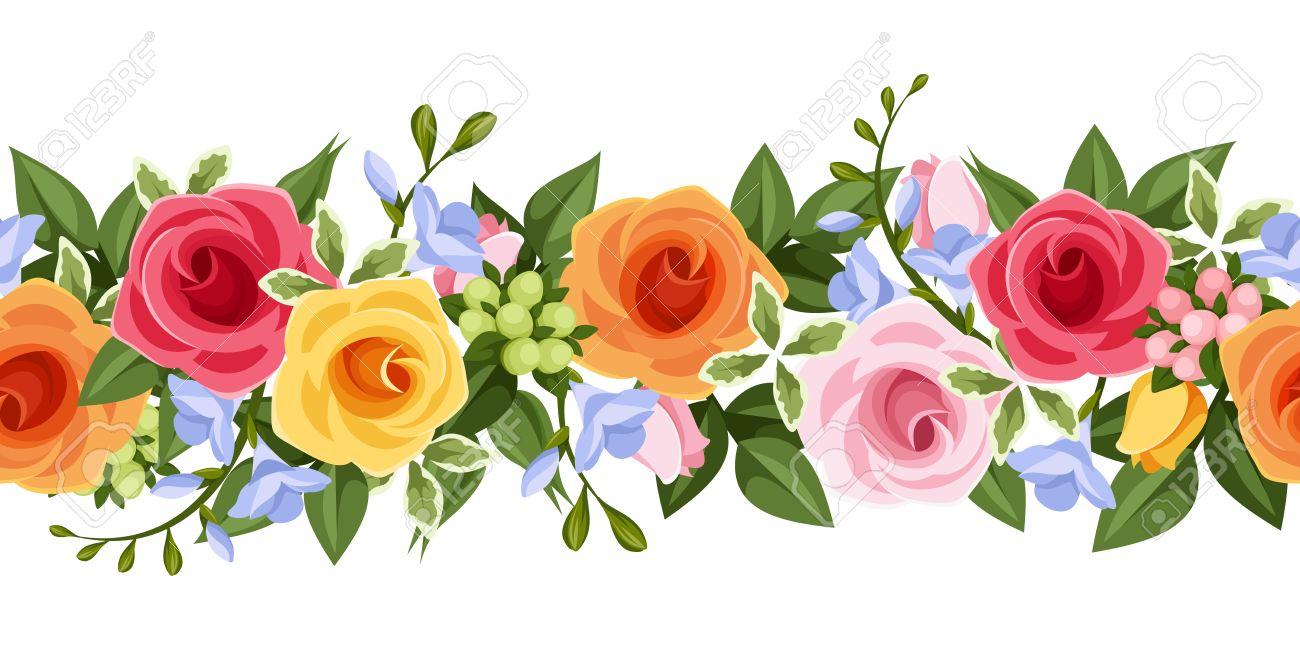 De Fondo Sin Fisuras Horizontal Con Las Rosas De Colores Y Flores