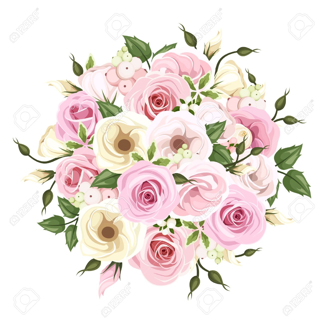 Bouquet Of Pink And White Roses And Lisianthus Flowers Vector