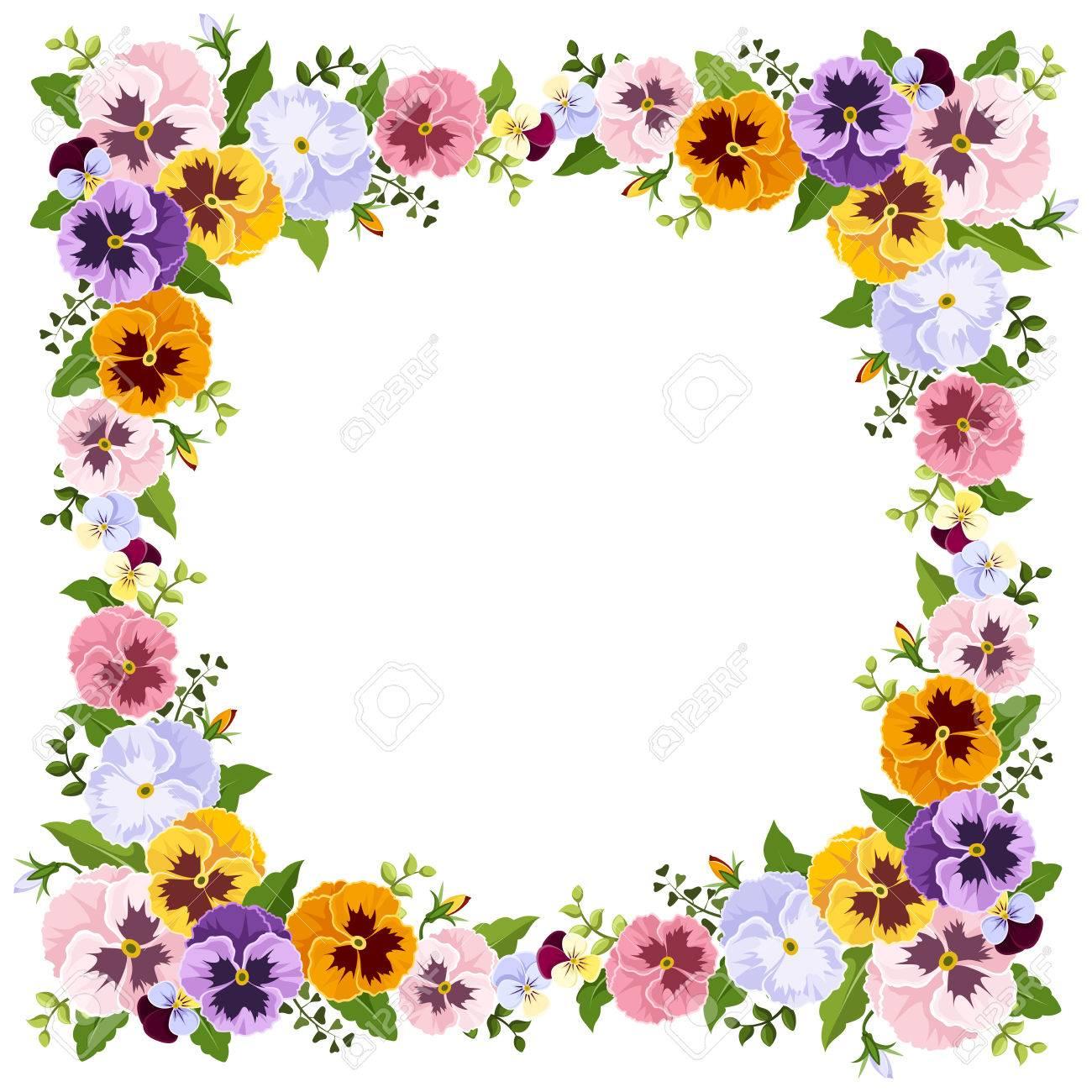 カラフルなパンジーの花を持つフレーム。ベクトル イラスト