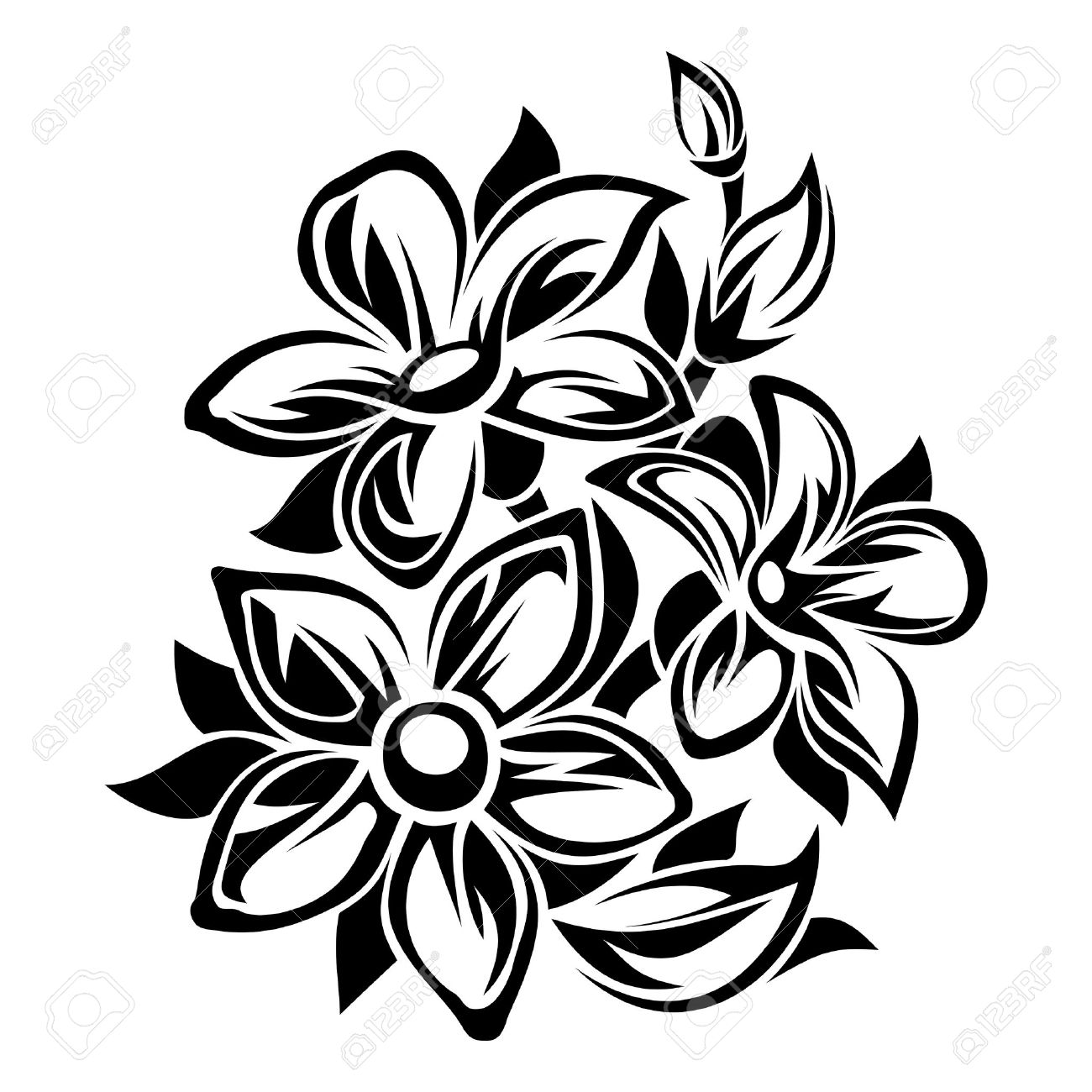 Blumen Schwarz Weiss Ornament Vektor Illustration Lizenzfrei