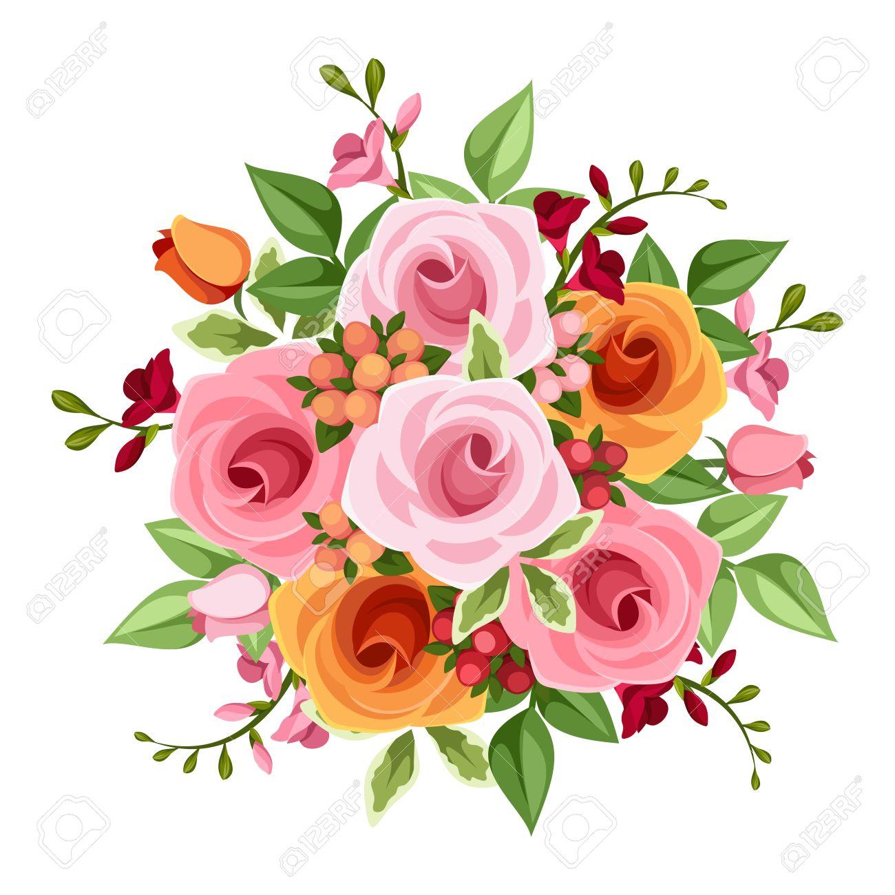 バラの花束とフリージアの花のイラスト素材ベクタ Image 36487747