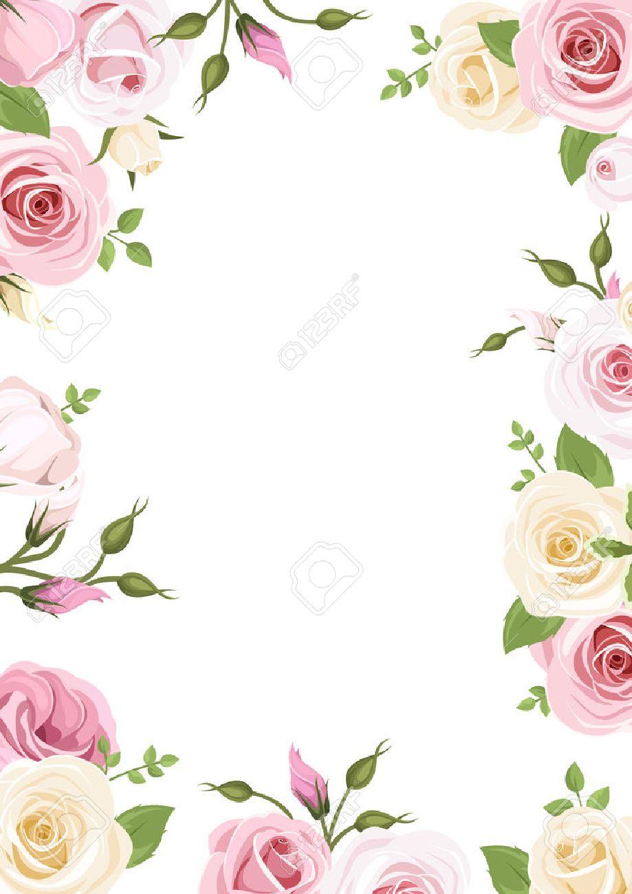 fondo con rosas rosadas y blancas y flores de lisianthus ilustración