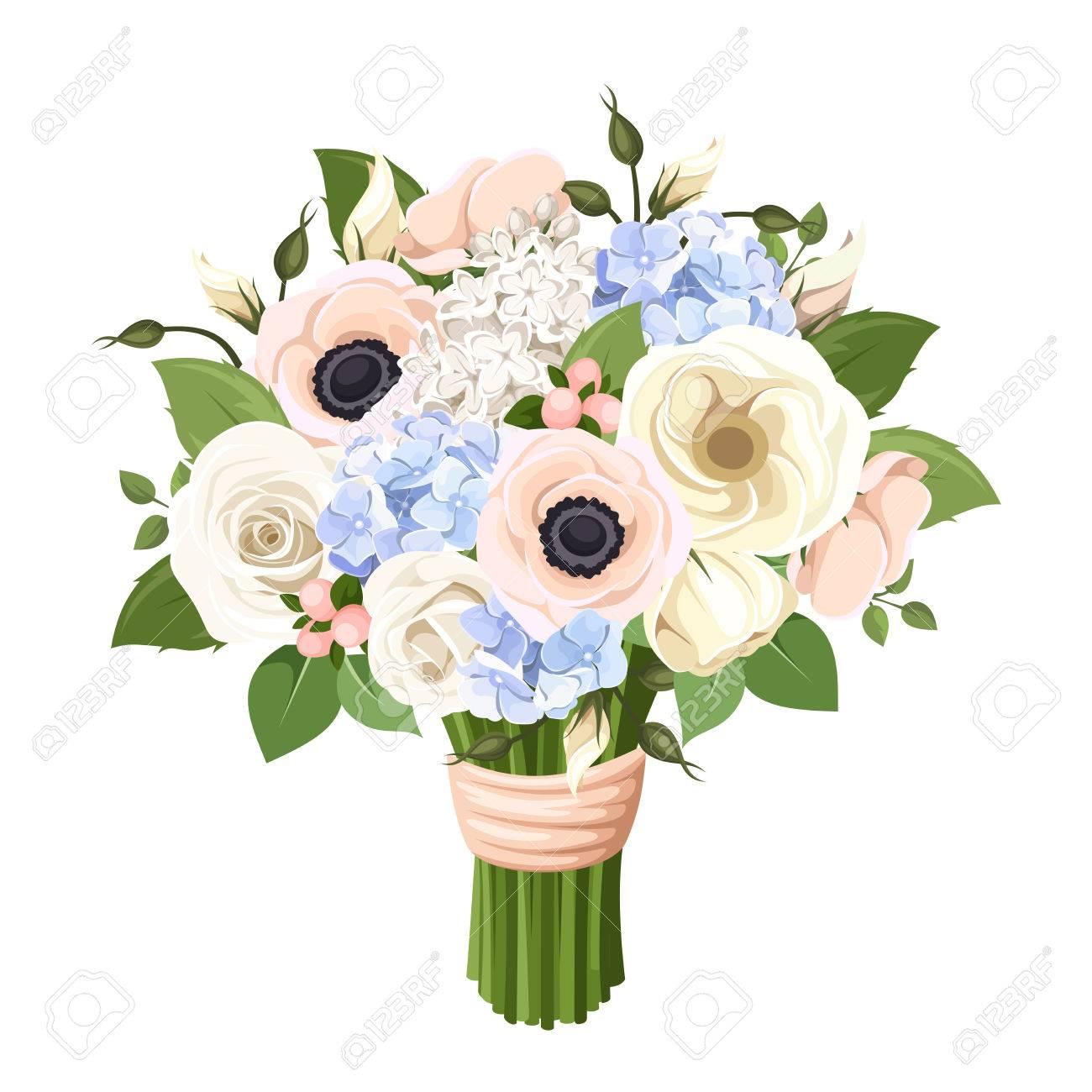 Bouquet de roses, lisianthus, des anémones et des fleurs d\u0027hortensia. Vector