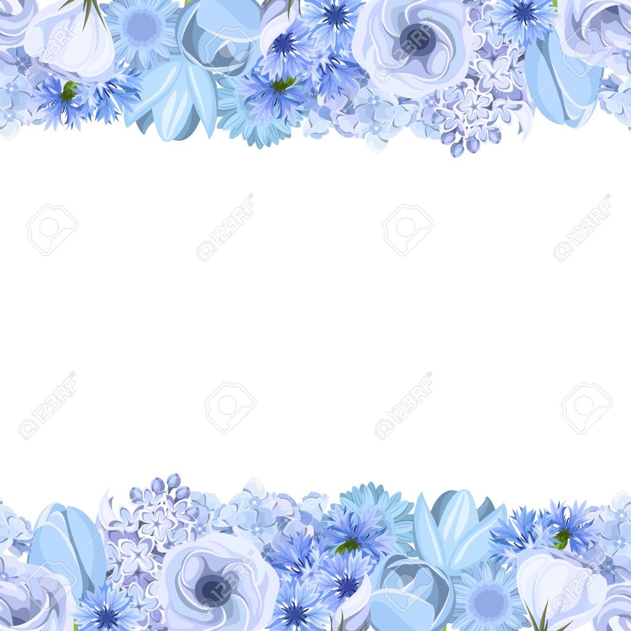 De Fondo Sin Fisuras Horizontales Con Flores Azules Ilustracion Del