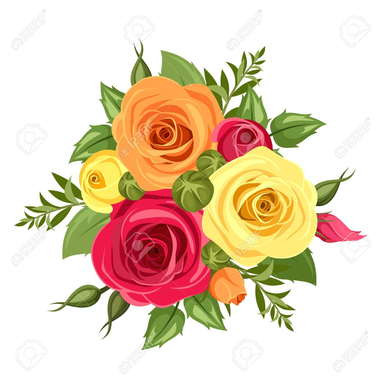 Bouquet Of Red Orange And Yellow Flowers Vector Illustration