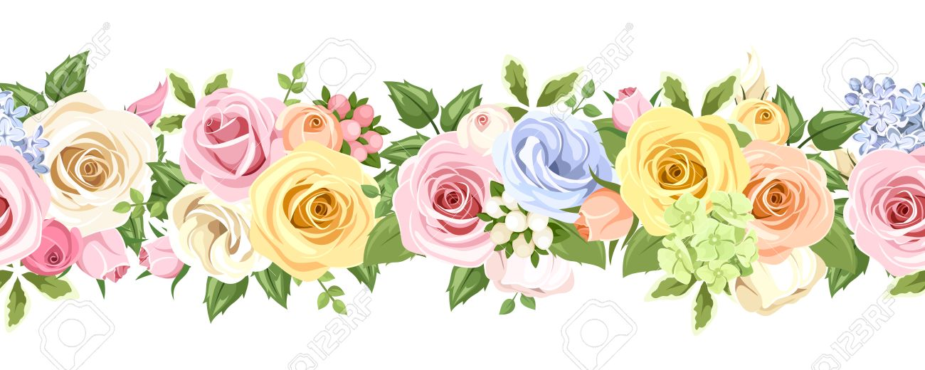 Horizontal Seamless Background With Colorful Roses And Lisianthus
