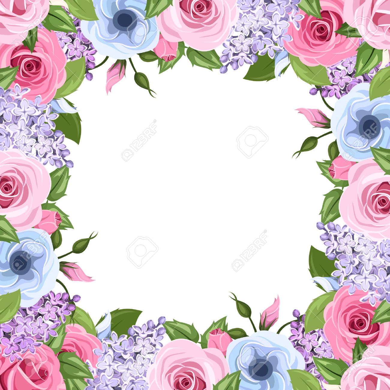 Frame With Pink Blue And Purple Roses Lisianthus And Lilac