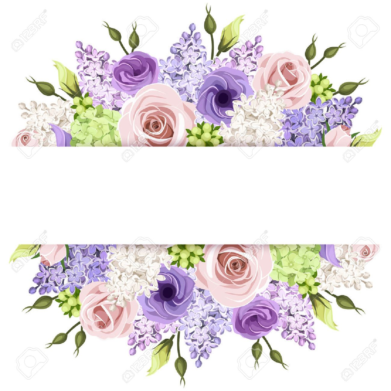 Background With Pink Purple And White Roses And Lilac Flowers