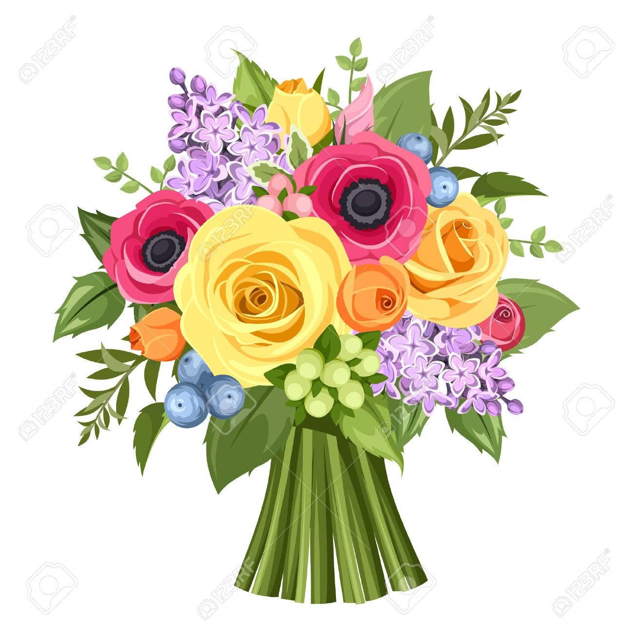 Ramo De Rosas De Colores Anemonas Y Flores De Color Lila