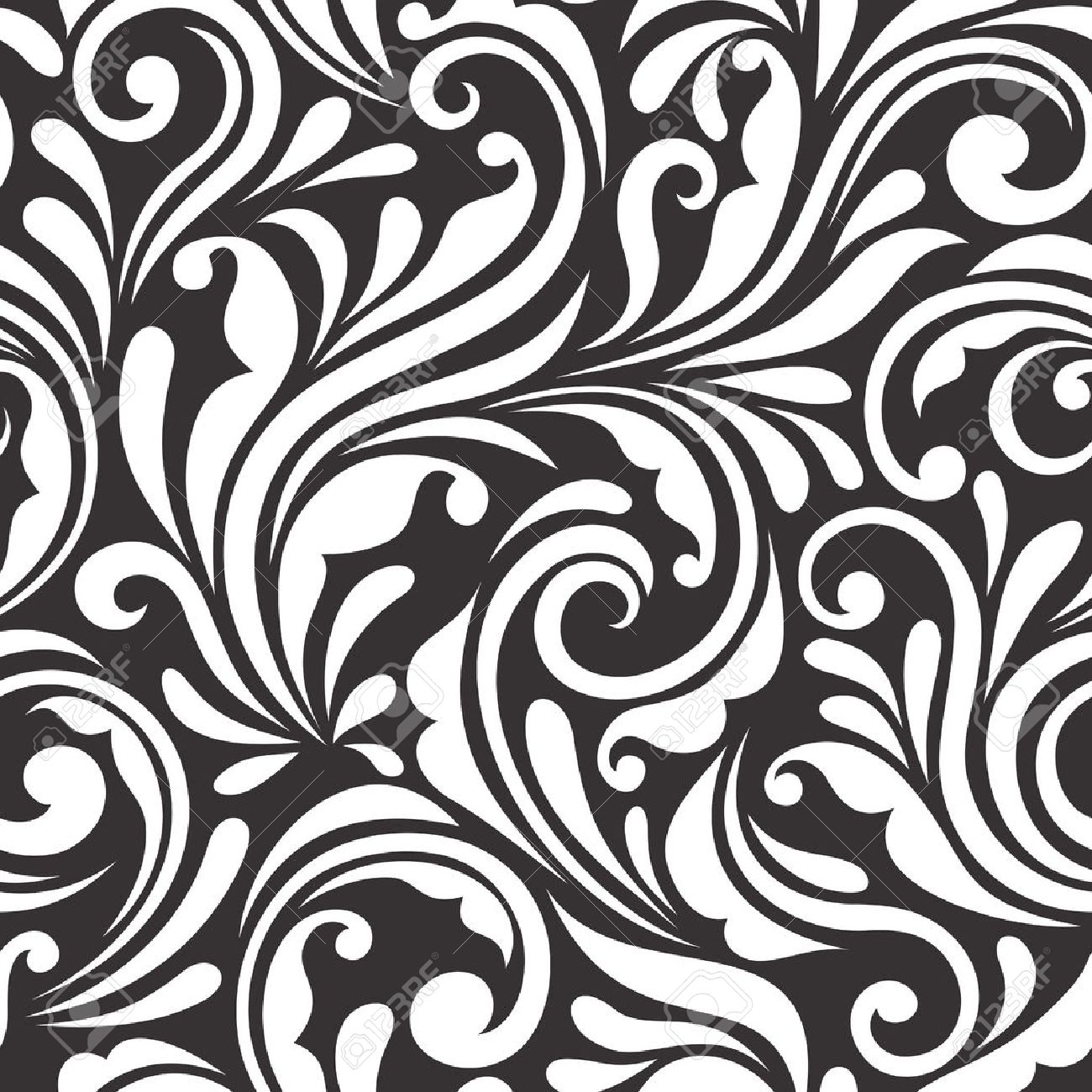 Vintage Seamless Black And White Floral Pattern Vector Illustration