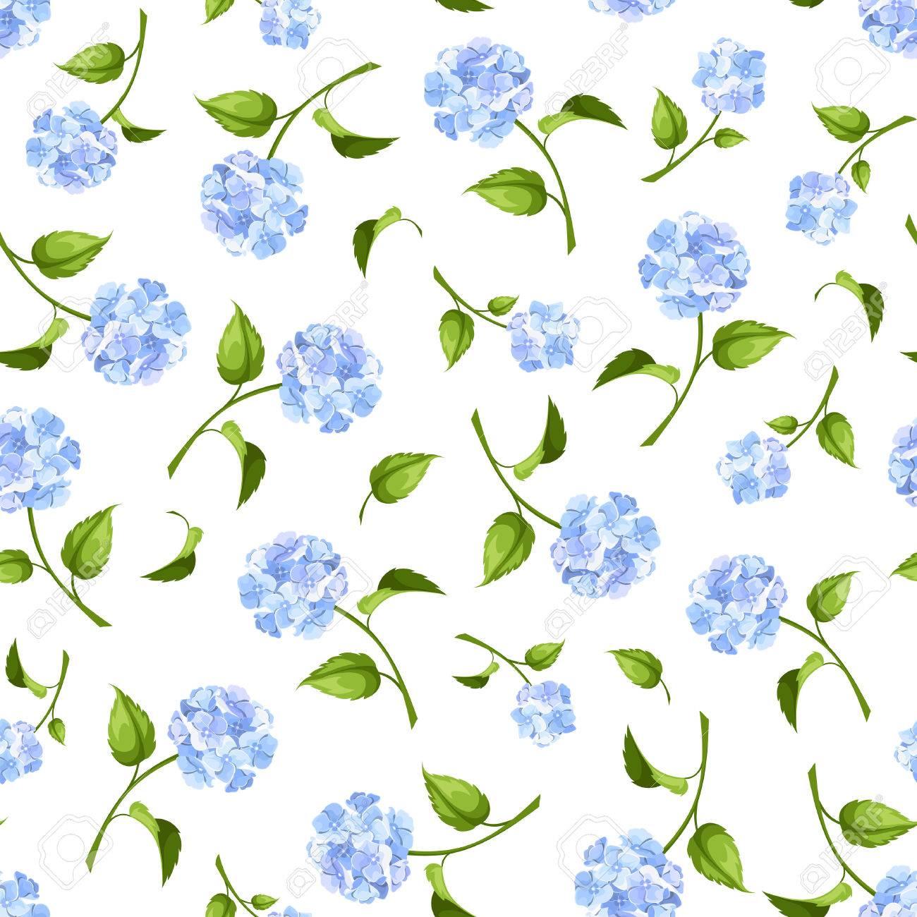 Vector Sin Patron Con Flores De Hortensias Azules Sobre Un Fondo