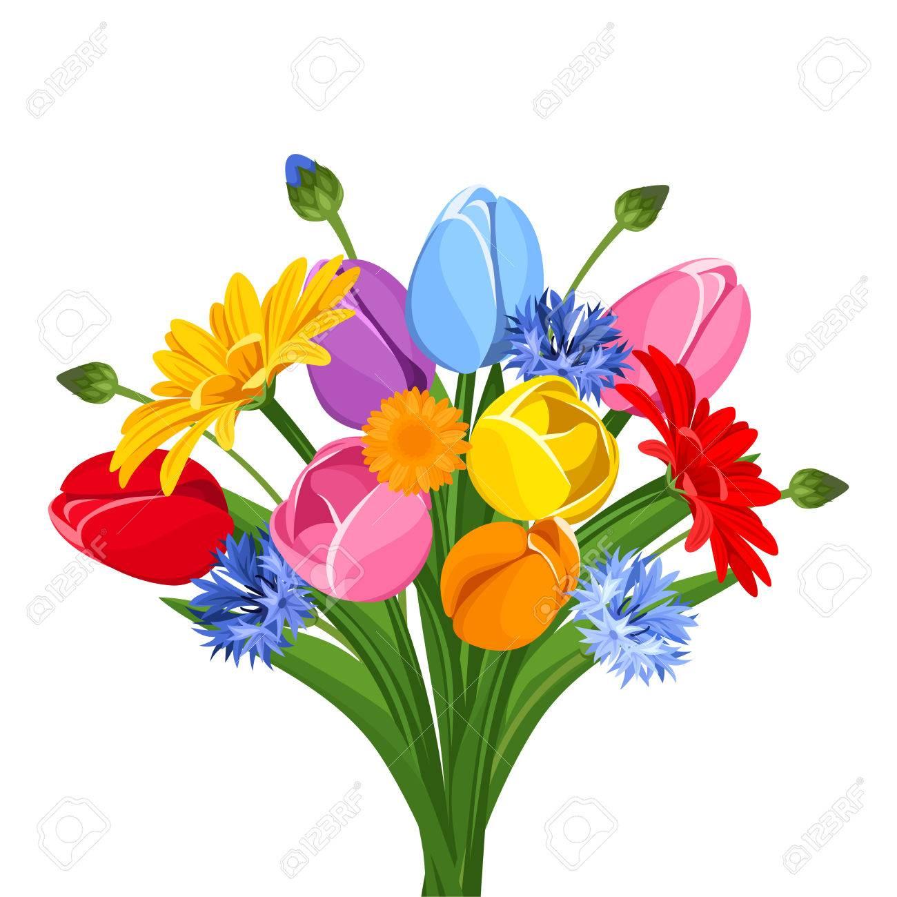 Bouquet De Tulipes Colorees Fleurs Gerbera Et Bleuets Vector Illustration Clip Art Libres De Droits Vecteurs Et Illustration Image 41252363