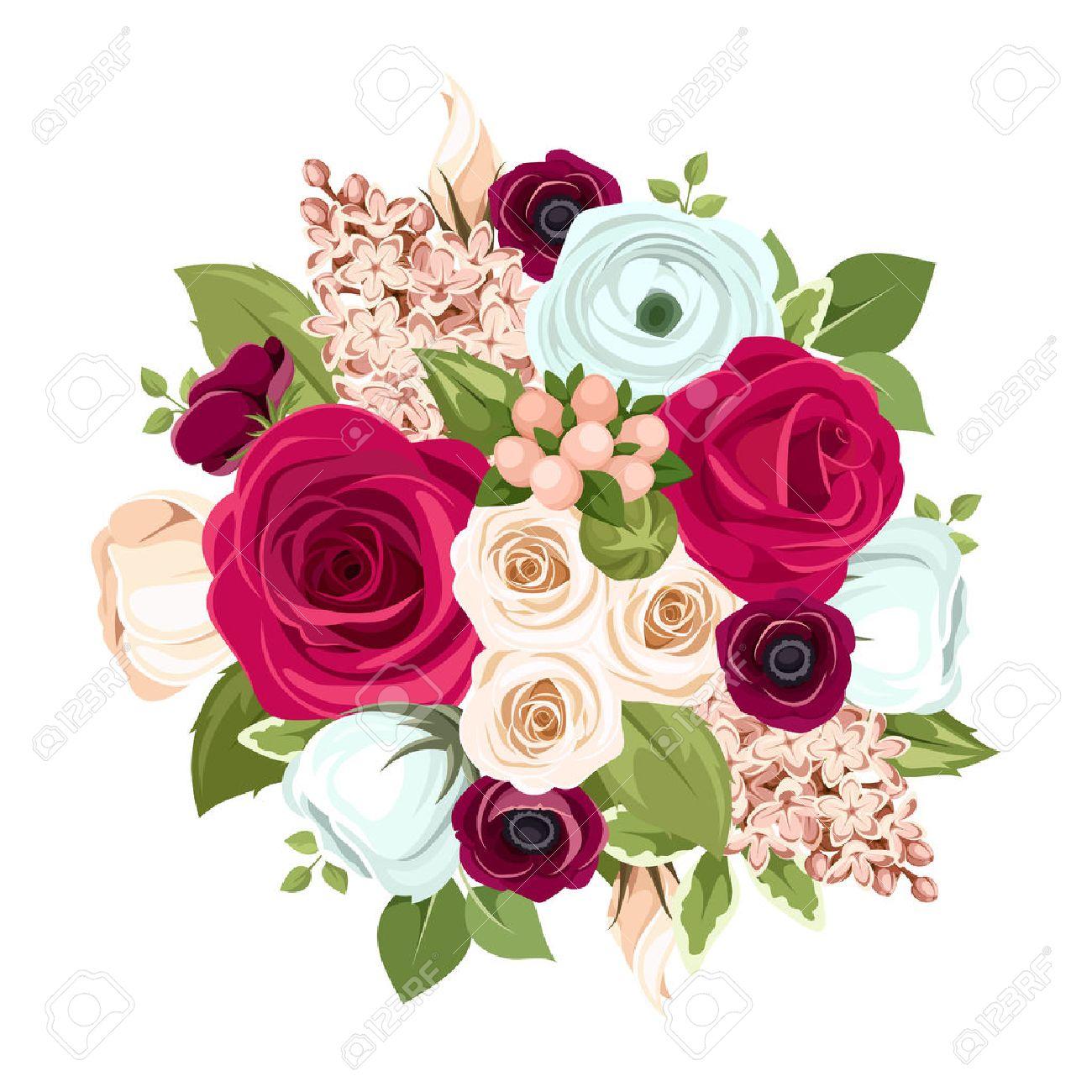 Ramo De Vector Con Rosas Rojas Blancas Y Azules Lisianthuses