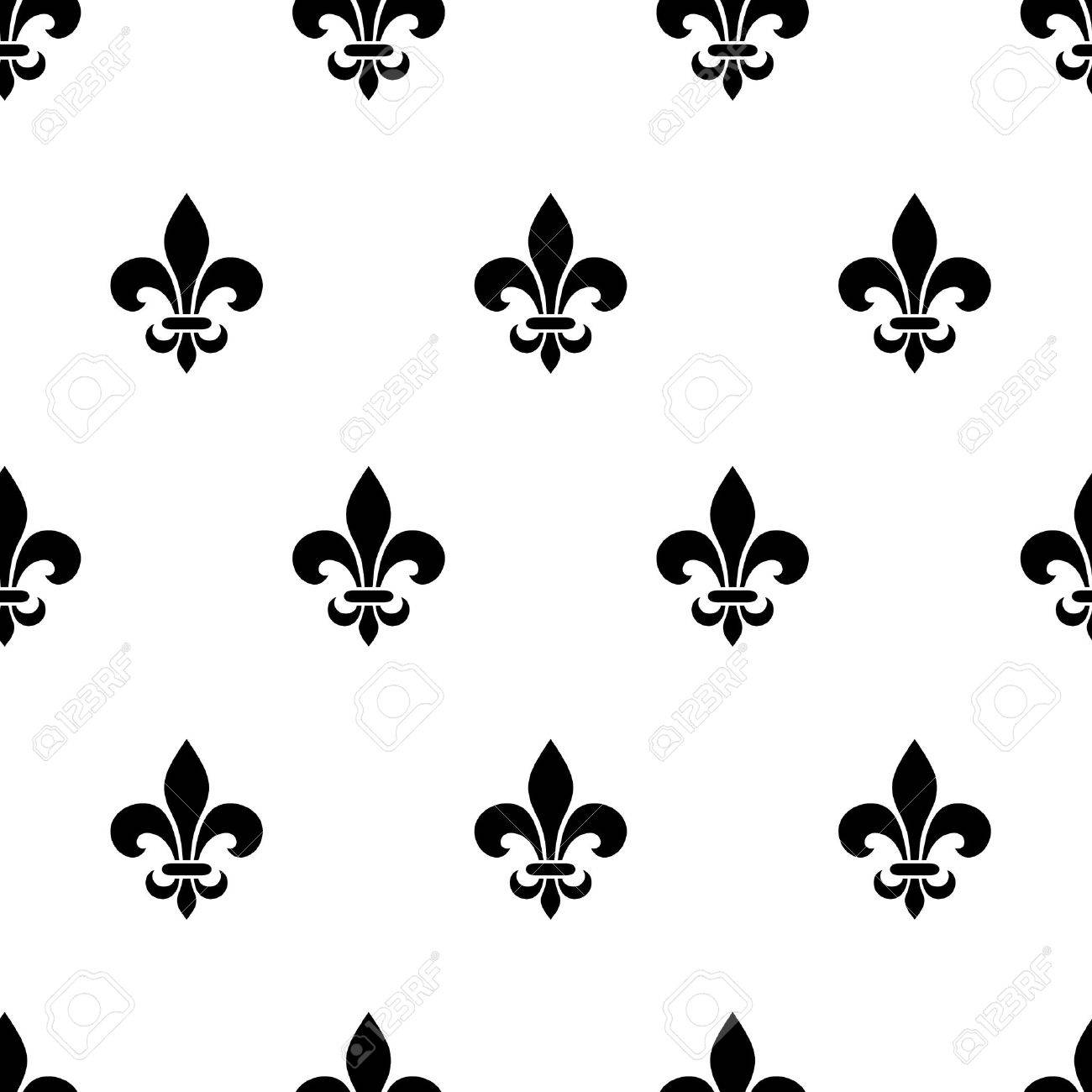 Vector Seamless Black And White Pattern With Fleur De Lis Symbols
