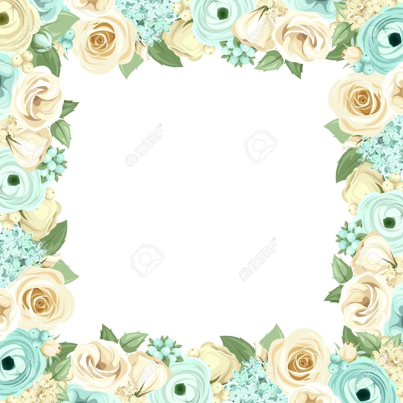 Marco Del Vector Con Las Rosas Azules Y Blancas Lisianthuses