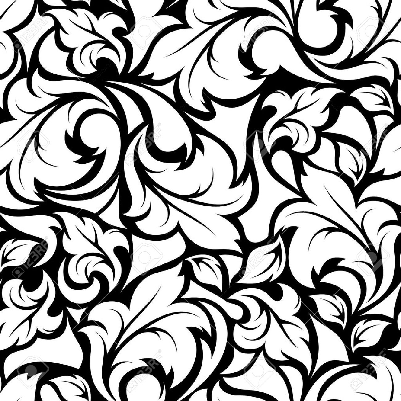 Vector Vintage Seamless Black And White Floral Pattern Royalty