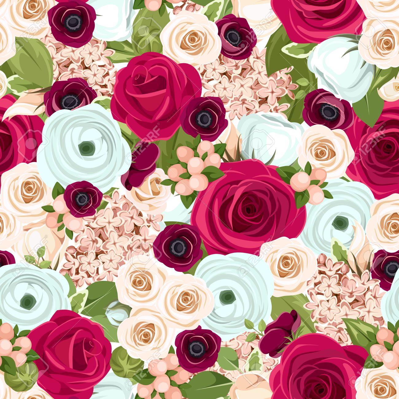 Fondo Inconsútil Con Las Rosas Rojas Blancas Y Azules Lisianthuses