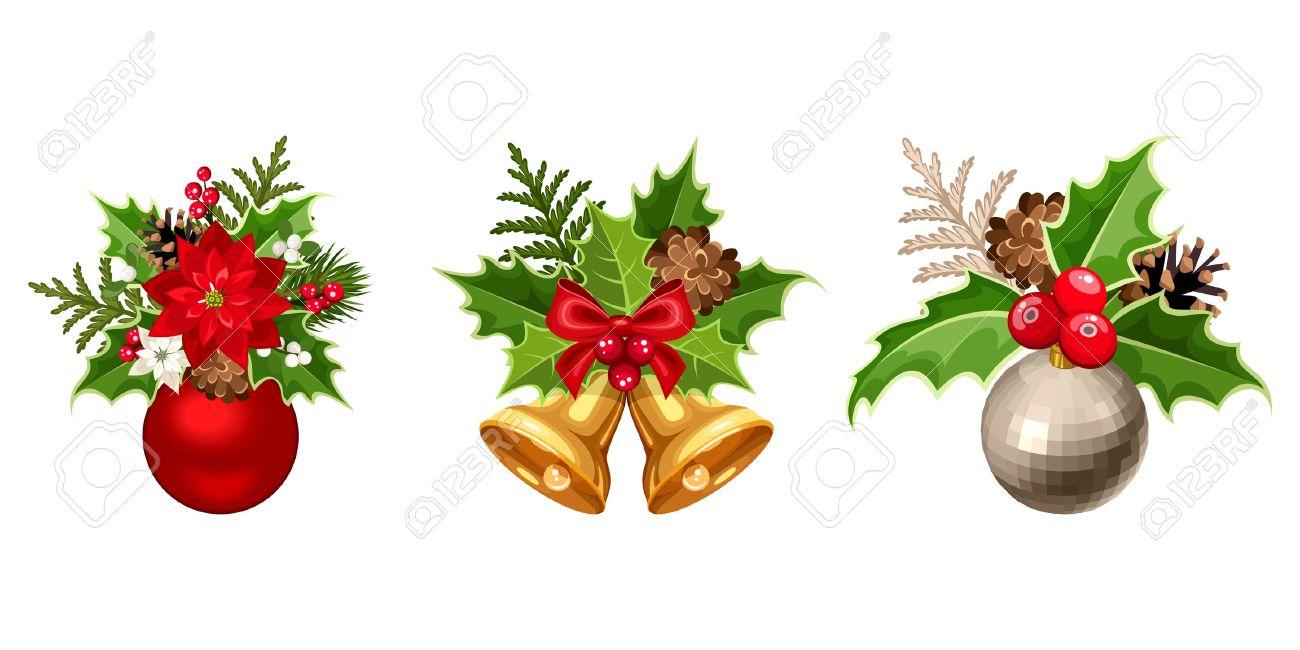 gui noel Ensemble De Trois Vecteurs Décorations De Noël Avec Des Boules  gui noel