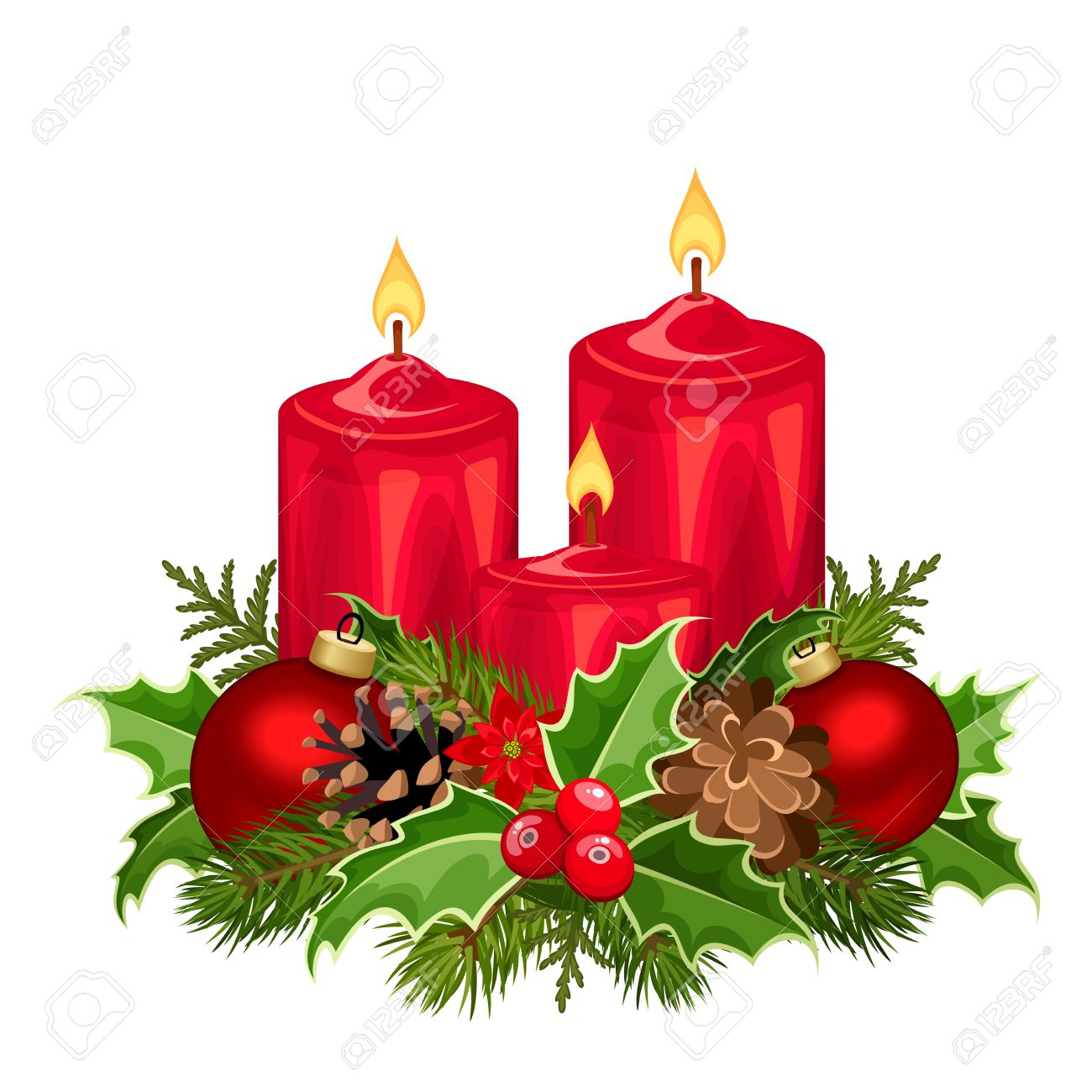 Christmas Candles.Vector Illustration Of Three Red Christmas Candles With Fir Branches