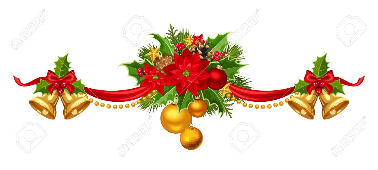 Vector Christmas Garland With Red Gold And Green Balls Bells