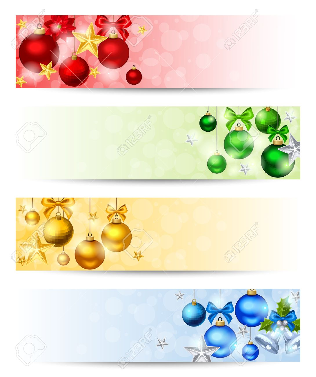 Vector set of four Christmas banners with red, yellow, green and blue balls, stars and sparkles. - 50015430
