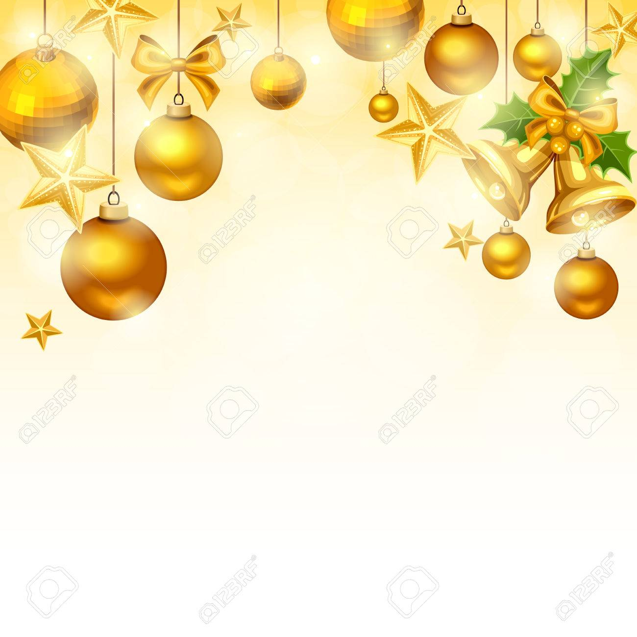 Christmas Background Images Gold.Vector Christmas Background With Gold Balls Bells Stars And