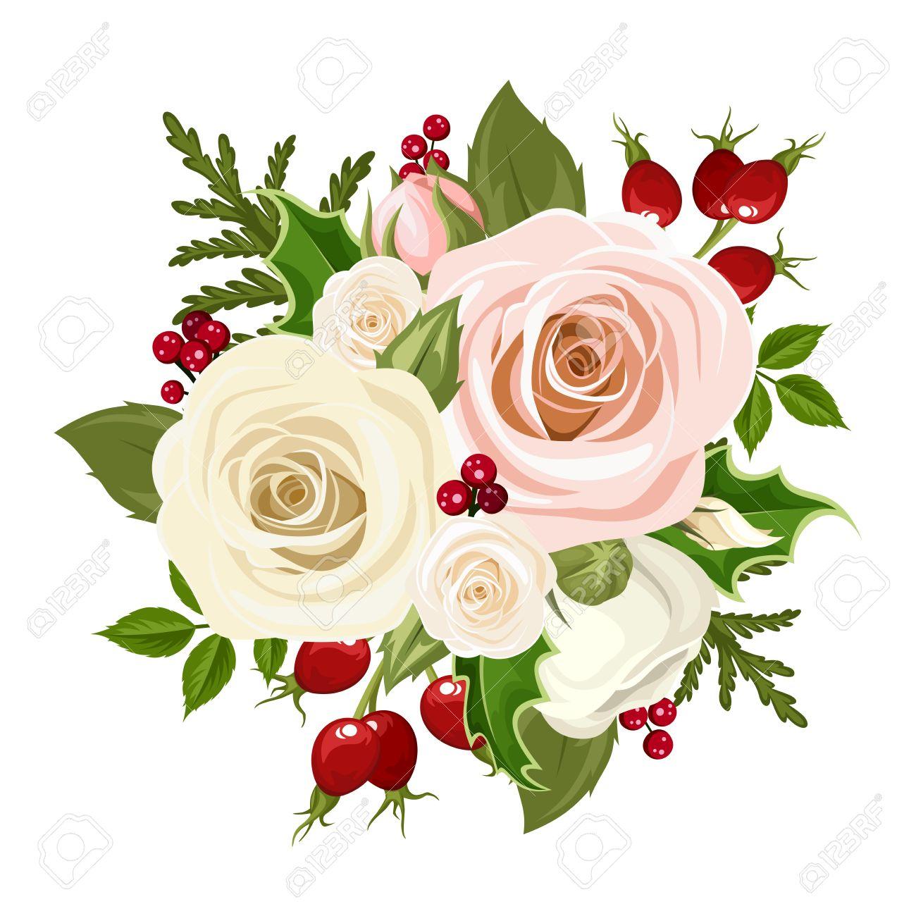Vector Weihnachten Bouquet Mit Rosa Und Weißen Rosen, Hagebutten ...