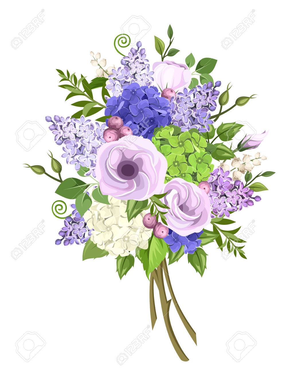 Bouquet Von Lila Blau Weiss Und Grun Lisianthus Flieder Und