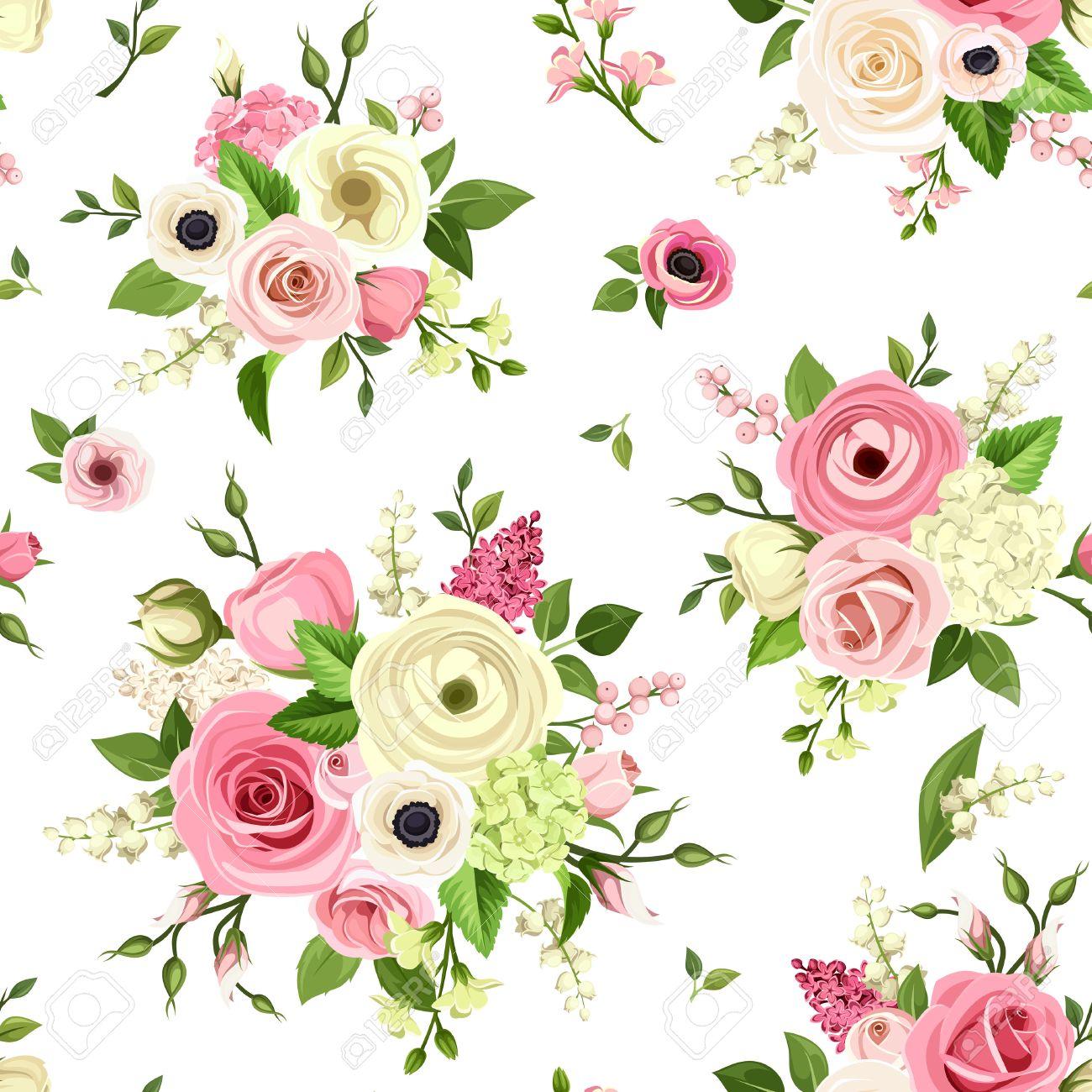 Bien-aimé Vector Seamless Pattern Avec Des Fleurs Roses Et Blanches Sur Un  XI05